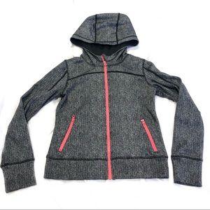 Zella Full Zip Athletic Jacket Hood Workout Grey